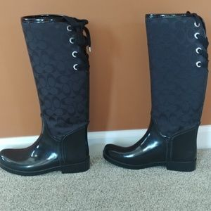 Coach Tristee Size 8 Black Lace Up Rain Boots